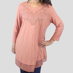 LOGO Pink Rose Sequined Tunic Top